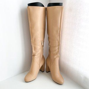 FSJ Pointed Toe High Chunky Heel Boots Pumps